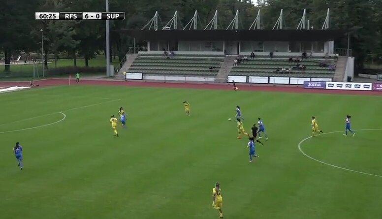 Latvijas kausa pusfināls futbolā sievietēm: Rīgas FS - SK Super Nova/RTU. Spēles ieraksts