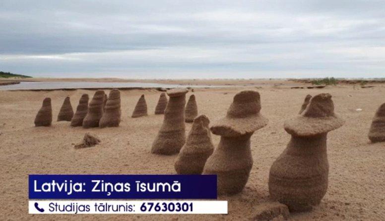 Iedzīvotājus pārsteidz netipiski smilšu veidojumi jūras krastā