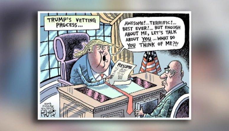 Karikatūru apskats: Kā Tramps izvēlās kadrus?