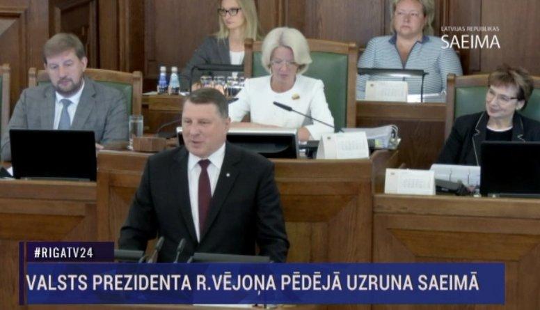 Valsts prezidenta Raimonda Vējoņa pēdējā uzruna Saeimā