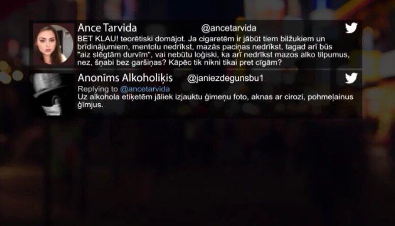 Tvitersāga: Cigaretes vs alkohols