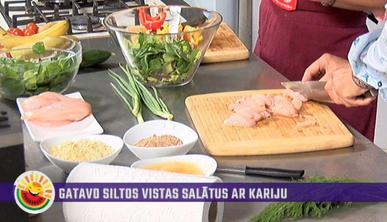 Gatavo siltos vistas salātus ar kariju