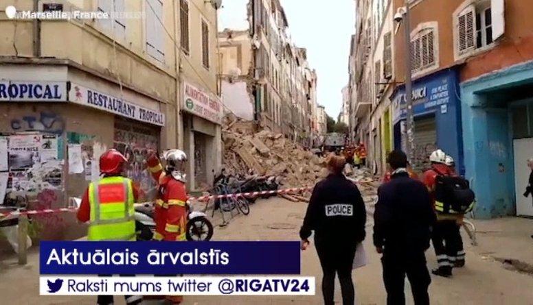 Traģiski: Marseļā sagruvušas divas ēkas, cietuši cilvēki
