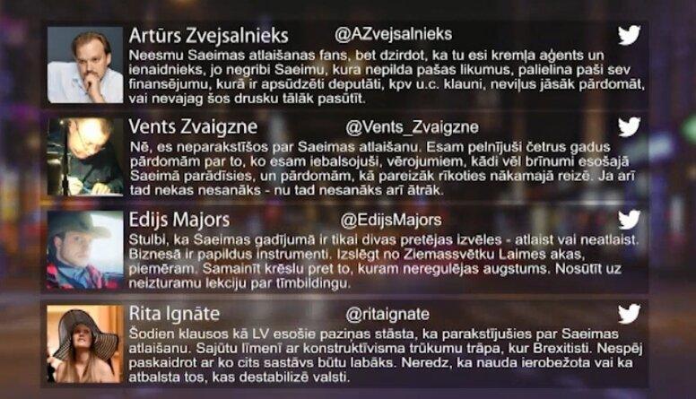 Tvitersāga: Iniciatīva par Saeimas atlaišanu