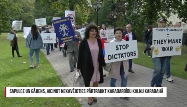 Speciālizlaidums: Sapulce un gājiens, aicinot nekavējoties pārtraukt karadarbību Kalnu Karabahā