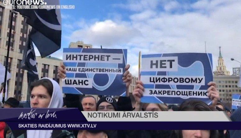 Krievijā aizvadīti protesti pret 'interneta izolāciju'