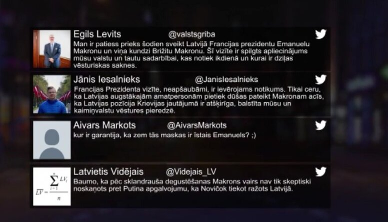 Tvitersāga: Makrona vizīte Latvijā
