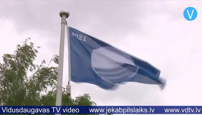 Pie Jēkabpils Radžu ūdenskrātuves paceļ Zilo Karogu