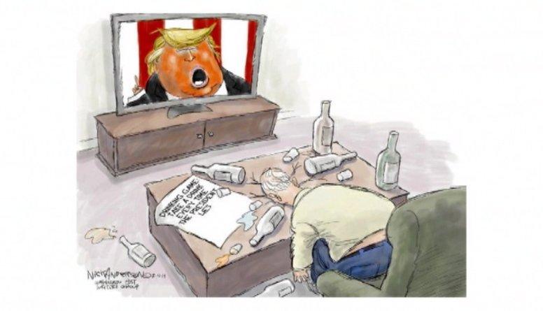 Karikatūru apskats: Iedzer glāzīti par Trampu!