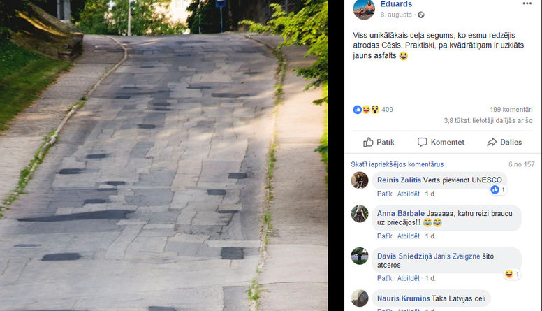 Unikālais ceļa segums Cēsīs - mozaīka, bruģis vai abstraktā māksla?