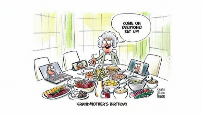 Karikatūru apskats: Attālinātā vecmāmiņas dzimšanas diena!