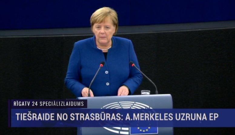Speciālizlaidumi - Merkele Strasbūrā uzrunā Eiropas Savienības līderus