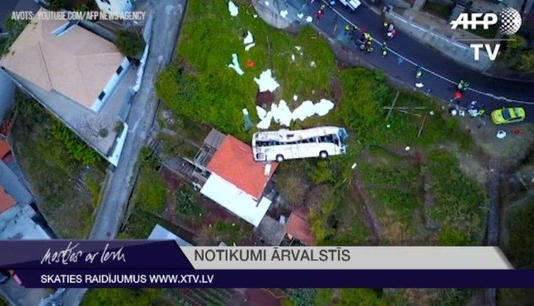 Traģiski: Madeirā, avarējot autobusam, vairāki desmiti bojāgājušo
