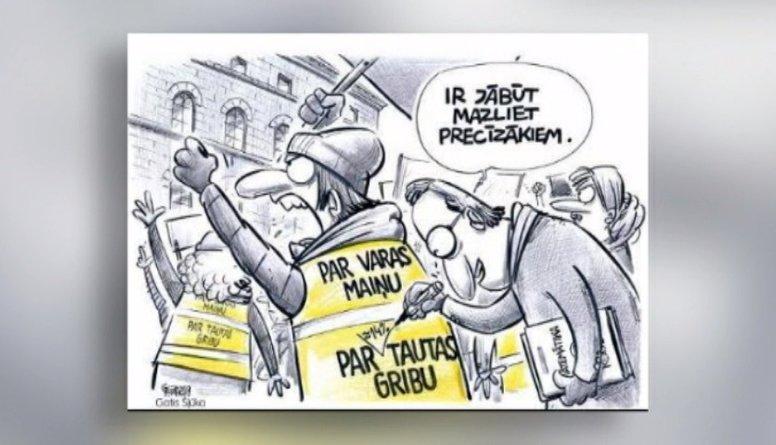 """Karikatūru apskats: """"Dzeltenās vestes"""" arī Latvijā?"""