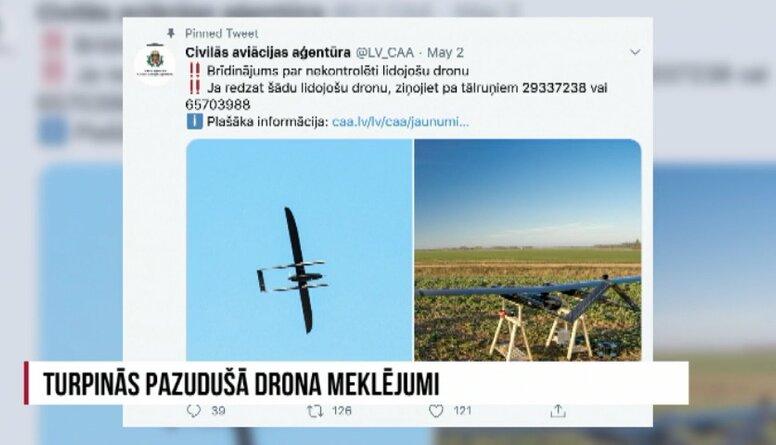 Turpinās pazudušā drona meklējumi