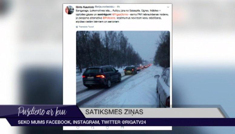 Tvītotāji par sniega paralizēto un sastrēgušo Rīgu