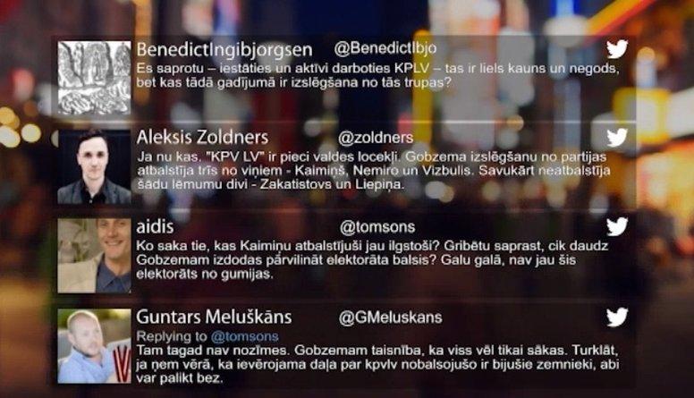 Tvitersāga: Par Gobzema izslēgšanu
