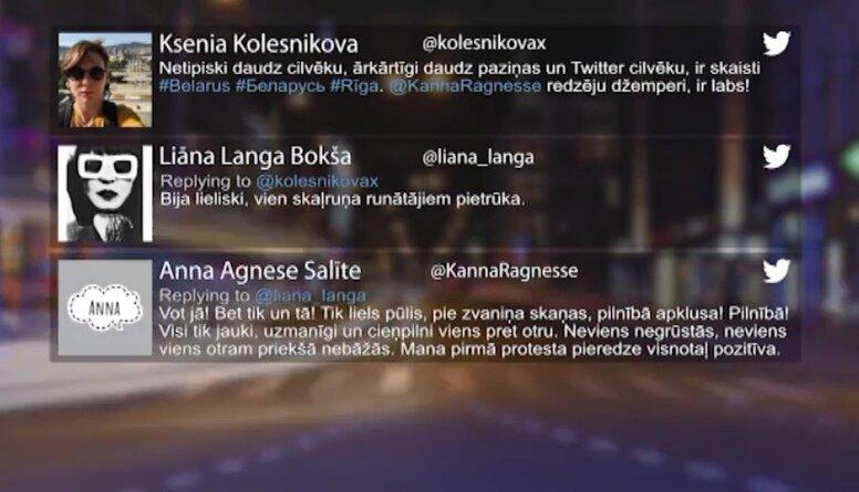 Tvitersāga: Protests pie Baltkrievijas vēstniecības