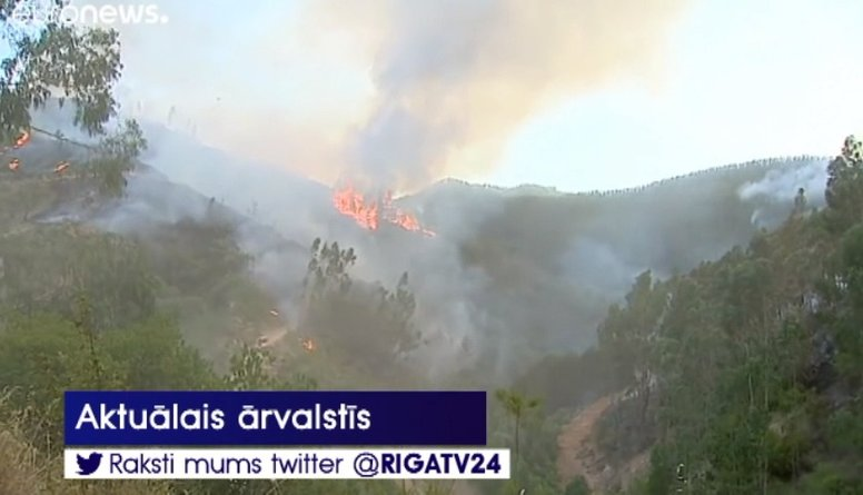 Portugālē un Spānijā plosās savvaļas mežu ugunsgrēki
