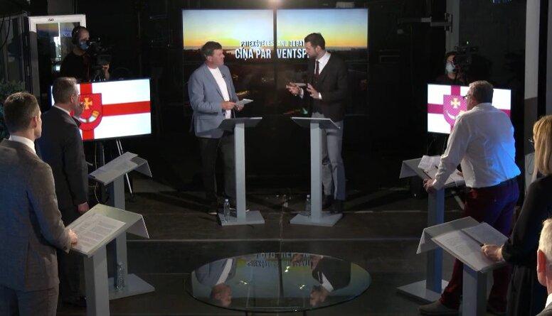 """""""Cīņa par Ventspili: priekšvēlēšanu debates"""" A. Pučes uzdevums kandidātiem """"pabeidz teikumu"""""""