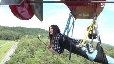 Kādi Stefai iespaidi lidojot Siguldā virs koku galotnēm