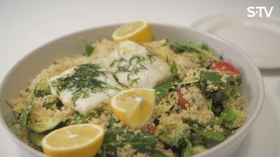 Garšīga un veselīga zivs filejas recepte ar kuskusu un dārzeņiem