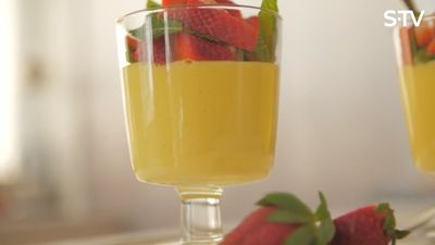 Viegla deserta recepte - panna cotta ar mango