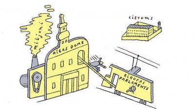 Karikatūru apskats: Ušakova bēgšana no Rīgas domes uz Eiropas Parlamentu