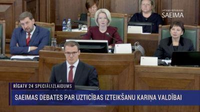 Speciālizlaidums: Saeimas sēde par uzticības izteikšanu Kariņa valdībai 1. daļa