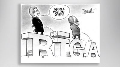 Karikatūru apskats: Ušakovs un Ameriks pošas uz Briseli