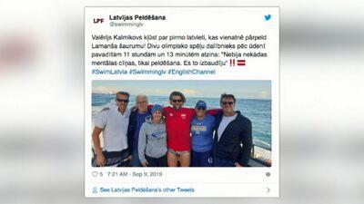 Latvijas peldētājs veicis vēsturisku peldējumu pāri Lamanšam