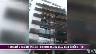 Francijā migrants izglābj pāri balkona margām pārkārušos zēnu