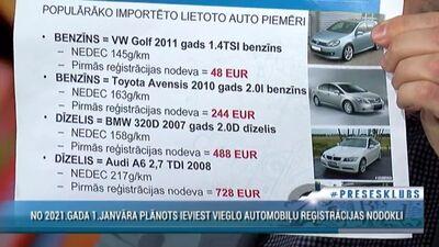 No 2021. gada 1. janvāra plānots ieviest vieglo automobiļu reģistrācijas nodokli