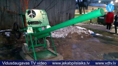 Jēkabpils pilsētvidē uzstāda lielgabala imitāciju