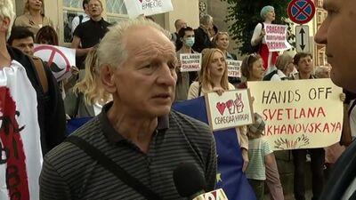 Intervija ar Daini Īvānu protesta akcijas laikā pie Baltkrievijas vēstniecības