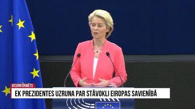 Speciālizlaidums: EK prezidentes uzruna par stāvokli Eiropas Savienībā