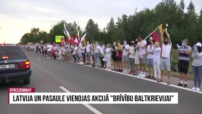Cilvēku ķēdē Baltkrievijas atbalstam pulcējušies simtiem cilvēku  3. daļa