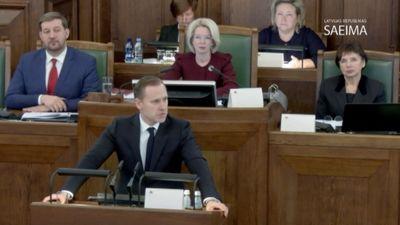 Alda Gobzema runa Saeimas sēdē