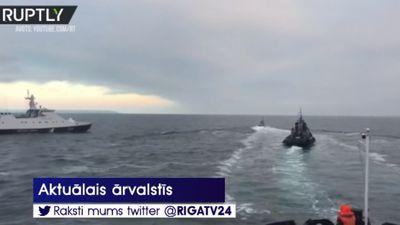 Krievijas robežsargi atklājuši uguni uz Ukrainas kuģiem